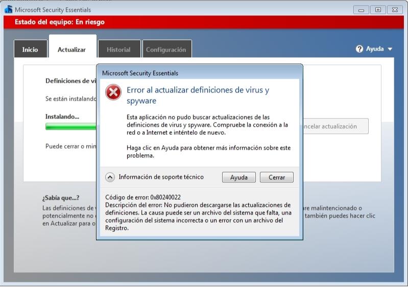 Microsoft Security Essentials fallo